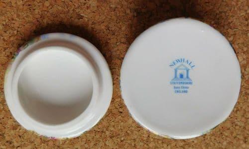 Staffordshire trinket box English thatched cottage Newhall bone china jar pot
